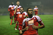 Whitehawk striker Danny Mills celebrates his goal during the The FA Cup 2nd Round Replay match between Whitehawk FC and Dagenham and Redbridge at the Enclosed Ground, Whitehawk, United Kingdom on 16 December 2015. Photo by Phil Duncan.