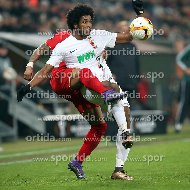 18.02.2016, WWKArena, Augsburg, GER, UEFA EL, FC Augsburg vs FC Liverpool, Sechzehntelfinale, Hinspiel, im Bild Nathaniel Clyne ( FC Liverpool ) Caiuby ( FC Augsburg ) // during the UEFA Europa League Round of 32, 1st Leg match between FC Augsburg and FC Liverpool at the WWKArena in Augsburg, Germany on 2016/02/18. EXPA Pictures © 2016, PhotoCredit: EXPA/ Eibner-Pressefoto/ Langer<br /> <br /> *****ATTENTION - OUT of GER*****