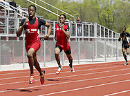 Trotwood (left and center) and Meadowdale runners compete during the Boys 400 Meter Dash in the Buff Taylor Memorial Track & Field Invitational at the Good Samaritan Sports Plex at Trotwood Madison High School, Saturday, May 10, 2008.