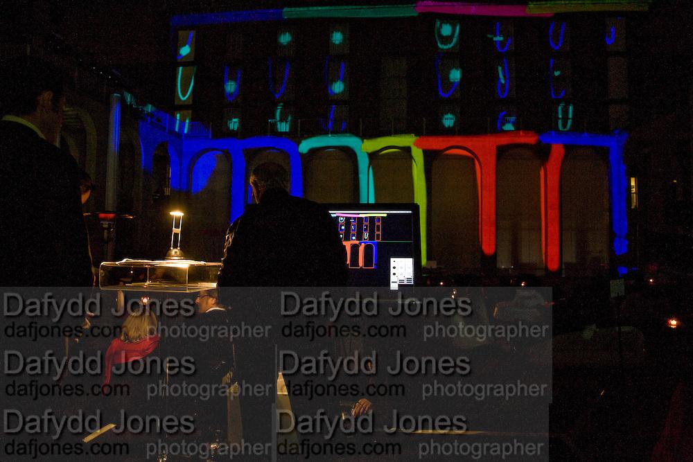 LIGHT SHOW BY RON FERRI, Tudor presentation. Triennale Museum of Milan. Milan. 29 September 2008 *** Local Caption *** -DO NOT ARCHIVE-© Copyright Photograph by Dafydd Jones. 248 Clapham Rd. London SW9 0PZ. Tel 0207 820 0771. www.dafjones.com.