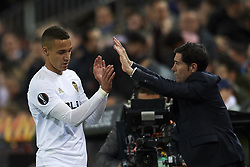 March 7, 2019 - Valencia, Valencia, Spain - Marcelino Garcia Toral and Rodrigo Moreno of Valencia during the UEFA Europa League Round of 16 First Leg match between Valencia v Krasnodar  at Estadi de Mestalla on March 7, 2019 in Valencia, Spain. (Credit Image: © Jose Breton/NurPhoto via ZUMA Press)