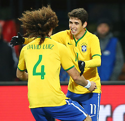 18.11.2014, Ernst Happel Stadion, Wien, AUT, Freundschaftsspiel, Oesterreich vs Brasilien, im Bild David Luiz (BRA) und Oscar (BRA) // during the friendly match between Austria and Brasil at the Ernst Happel Stadion, Vienna, Austria on 2014/11/18. EXPA Pictures © 2014, PhotoCredit: EXPA/ Thomas Haumer