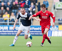Falkirk's Joe Chalmers and Raith Rovers Grant Anderson.<br /> Falkirk 2 v 1 Raith Rovers, Scottish Championship game played today at The Falkirk Stadium.<br /> © Michael Schofield.