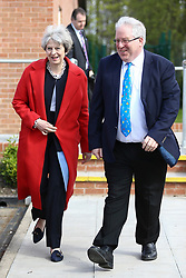 © Licensed to London News Pictures. 06/04/2017. Calverton UK. Prime Minister THERESA MAY leaving the venue with Chairman of the Conservative Party, Patrick McLoughlin, after launching the Conservative Party's Local Election campaign this morning at Calverton Village hall in Nottinghamshire. Photo credit: Andrew McCaren/LNP