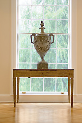 1824 R Street Washington DC Artists Inn lattice window with decorative urn and console table