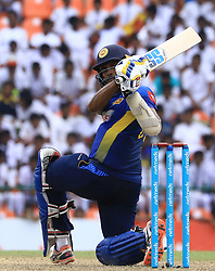 October 20, 2018 - Kandy, Sri Lanka - Sri Lankan cricketer Dasun Shanaka plays a shot  during the 4th One Day International cricket match between Sri Lanka and England at the Pallekele International Cricket Stadium  Sri Lanka. Saturday 20 October 2018  (Credit Image: © Tharaka Basnayaka/NurPhoto via ZUMA Press)