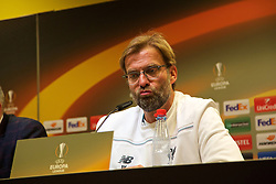 DORTMUND, GERMANY - Thursday, April 7, 2016: Liverpool's manager Jürgen Klopp during the post-match press conference following the 1-1 draw against Borussia Dortmund during the UEFA Europa League Quarter-Final 1st Leg match at Westfalenstadion. (Pic by David Rawcliffe/Propaganda)