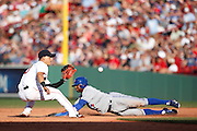 BOSTON, MA - JUNE 29: Rajai Davis #11 of the Toronto Blue Jays steals second base against the Boston Red Sox at Fenway Park on June 29, 2013 in Boston, Massachusetts. (Photo by Joe Robbins)