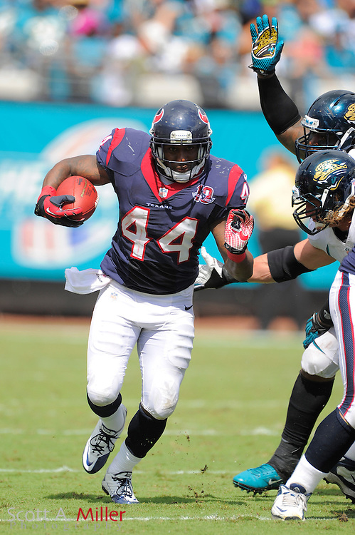 Houston Texans running back Ben Tate (44) runs upfield during the Texans 27-7 win over the Jacksonville Jaguars at EverBank Field on September 16, 2012 in Jacksonville, Florida. ..©2012 Scott A. Miller..