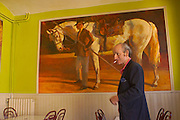 Southern France, Aubais, Painter Tod Ramos with Horse Painting