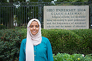Noha Al-khalqi poses for a portrait in front of the Class Gateway on College Green on Thursday, September 10, 2015. Photo by Emily Matthews
