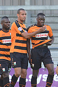 Andy Yiadom of Barnet celebrates scoring for Barnet to go 2-0 up with Curtis Weston of Barnet during the Sky Bet League 2 match between Barnet and Dagenham and Redbridge at Hive Stadium, London, England on 26 September 2015. Photo by Ian Lyall.