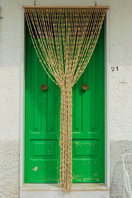 Door with Fly Curtain in Duronia
