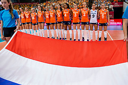 07-07-2017 NED: World Grand Prix Netherlands - Dominican Republic, Apeldoorn<br /> First match of first weekend of group C during the World Grand Prix / Netherlands listen to National Anthem