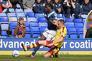 Burnley midfielder Dean Marney tackles Birmingham City striker Clayton Donaldson during the Sky Bet Championship match between Birmingham City and Burnley at St Andrews, Birmingham, England on 16 April 2016. Photo by Alan Franklin.