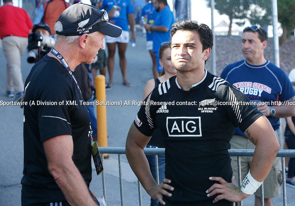 14 February 2015:  Coach Gordon Tietjens and Beaudine Waaka (6) of New Zealand during the USA Sevens Rugby Tournament between New Zealand and Fiji of the HSBC Sevens World Series, in Las Vegas, Nevada.  Fiji would defeat New Zealand 14-12.