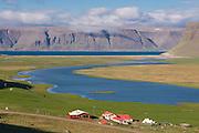 Typical landscape in fjord. Patreksfjördur. Iceland.