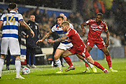 Adam Clayton (8) of Middlesbrough battles for possession during the EFL Sky Bet Championship match between Queens Park Rangers and Middlesbrough at the Kiyan Prince Foundation Stadium, London, England on 9 November 2019.