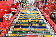 The Escadaria Selaron or Selaron Steps, public art work made from thousands of tile mosaic set in a stairway between Lapa and Santa Teresa neighborhoods in Rio de Janeiro, Brazil. The steps are a creation and work of Chilean-born artist Jorge Selaron.