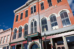 """Leadville, Colorado: The famed Tabor Opera House is one of numerous historic buildings line Harrison Avenue, the main street of this National Historic District...From the Tabor Opera House website: """"The Tabor Opera House was built in 1879 by Horace Austin Warner Tabor, one of Colorado's most well known mining magnates. It was one of the most costly and most substantially-built structures in Colorado history. The construction materials used to build the Tabor Opera House were not available in Leadville, so HAW Tabor ordered that they be brought up by wagons... a tedious task. Nevertheless, the Tabor was completed in only 100 days from the date of ground-breaking which was a record time."""".."""