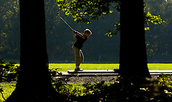 SPA, BELGIUM - AUGUST-17-2005 -  Pierre-Come Boulanger , 12, practices his golf swing while surrounded by the lush woods and rolling hills of the Ardennes at the Royal Golf Club des Fagnes in Spa. (Photo © Jock Fistick)
