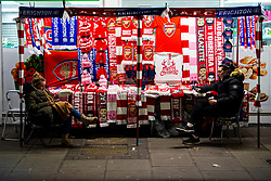 LONDON, ENGLAND - Thursday, December 5, 2019: A street vendor's stall before the FA Premier League match between Arsenal FC and Brighton & Hove Albion FC at the Emirates Stadium. (Pic by Vegard Grott/Propaganda)