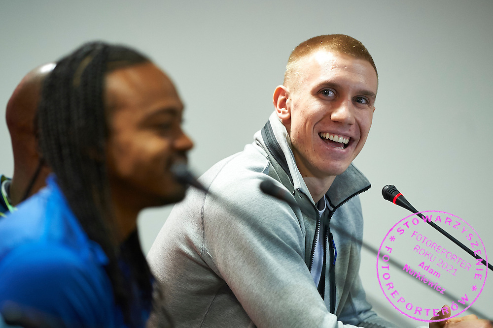 Poland's pole vault athlete Piotr Lisek speaks during press conference one day before athletics meeting Pedro's Cup at Atlas Arena in Lodz, Poland.<br /> Piotr Lisek is new national indoor record (5.87) holder.<br /> <br /> Poland, Lodz, February 16, 2015<br /> <br /> Picture also available in RAW (NEF) or TIFF format on special request.<br /> <br /> For editorial use only. Any commercial or promotional use requires permission.<br /> <br /> Adam Nurkiewicz declares that he has no rights to the image of people at the photographs of his authorship.<br /> <br /> Mandatory credit:<br /> Photo by &copy; Adam Nurkiewicz / Mediasport