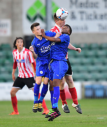 Lincoln City's Luke Anderson vies for possession with Leicester City's Conor Tee, left, and Leicester City's Khanya Leshabela<br /> <br /> Lincoln City under 18s Vs Leicester City under 18s at Sincil Bank, Lincoln.<br /> <br /> Picture: Chris Vaughan/Chris Vaughan Photography<br /> <br /> Date: July 28, 2016