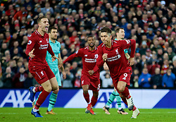 LIVERPOOL, ENGLAND - Saturday, December 29, 2018: Liverpool's Roberto Firmino celebrates scoring the fifth goal, with team-mate captain Jordan Henderson (L), completing his hat-trick, during the FA Premier League match between Liverpool FC and Arsenal FC at Anfield. (Pic by David Rawcliffe/Propaganda)