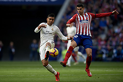 February 9, 2019 - Madrid, Madrid, Spain - Casemiro of Real Madrid and Alvaro Morata of Atletico Madrid during the week 23 of La Liga between Atletico Madrid and Real Madrid at Wanda Metropolitano stadium on February 09 2019, in Madrid, Spain. (Credit Image: © Jose Breton/NurPhoto via ZUMA Press)