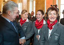 29.01.2014, Hofburg, Wien, AUT, Sochi 2014, Vereidigung OeOC, im Bild Bundespräsident Heinz Fischer, Regina Sterz, Elisabeth Görgl, Kathrin Zettel // Austrians President Heinz Fischer,  Regina Sterz, Elisabeth Görgl, Kathrin Zettel during the swearing-in of the Austrian National Olympic Committee for Sochi 2014 at the  Hofburg in Vienna, Austria on 2014/01/29. EXPA Pictures © 2014, PhotoCredit: EXPA/ JFK