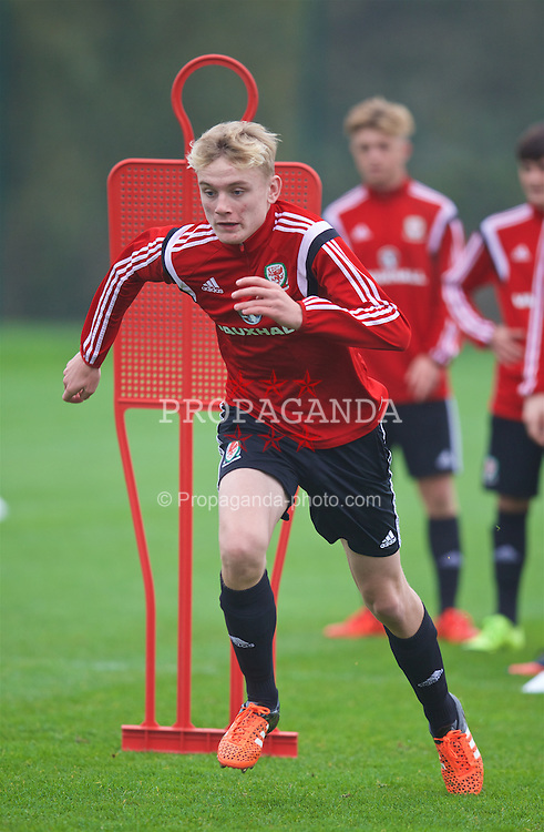NEWPORT, WALES - Monday, November 2, 2015: Wales' William Billy Sass-Davies during a training session ahead of the Under-16's Victory Shield International match at Dragon Park. (Pic by David Rawcliffe/Propaganda)