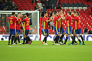 Spanish team after the final whistle during the Friendly match between England and Spain at Wembley Stadium, London, England on 15 November 2016. Photo by Matthew Redman.