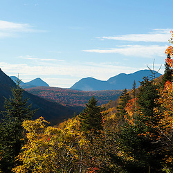 The view through Zealand Notch to Carrigain Notch from the Appalachian Mountain Club's Zealand Falls Hut in New Hampshire's White Mountains.