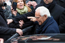 Celebrities at the Giorgio Armani Fashion Show during the Milan Fashion Week 2018 on February 24, 2018. 24 Feb 2018 Pictured: Giorgio Armani leaves the Armani Theater after the Fashion Show during Milan Fashion Week 2018 on February 24, 2018. Photo credit: Stefano Costantino / MEGA TheMegaAgency.com +1 888 505 6342