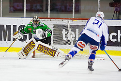 16.01.2015, Hala Tivoli, Ljubljana, SLO, EBEL, HDD Telemach Olimpija Ljubljana vs EC VSV, 39. Runde, in picture Benjamin Petrik (EC VSV, #21) vs Andy Chiodo (HDD Telemach Olimpija, #40) during the Erste Bank Icehockey League 39. Round between HDD Telemach Olimpija Ljubljana and EC VSV at the Hala Tivoli, Ljubljana, Slovenia on 2015/01/16. Photo by Morgan Kristan / Sportida
