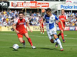 Tom Nichols of Bristol Rovers challenges Lewis Coyle of Fleetwood Town - Mandatory by-line: Neil Brookman/JMP - 26/08/2017 - FOOTBALL - Memorial Stadium - Bristol, England - Bristol Rovers v Fleetwood Town - Sky Bet League One