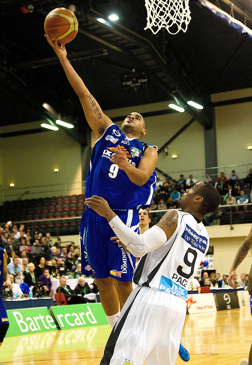 Wellington Saints Corey Webster shoots against the Hawkes bay Hawks in the NBL Grand final at the TSB Arena, Wellington, New Zealand, Sunday, July 17, 2011. Credit:SNPA/Marty Melville