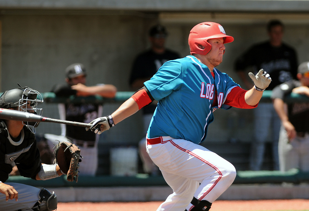 jt052017f/ sports/jim thompson/UNM's first baseman #50 Brandon Langan at bat for the Lobos.  Saturday May. 20, 2017. (Jim Thompson/Albuquerque Journal)