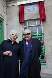 © Licensed to London News Pictures. 17/02/2014. London, UK. Martin Scorsese (R) and Thelma Schoonmaker (L), Powell's widow, attend at the Michael Powell and Emeric Pressburger commemoration, with a blue plaque, outside the Dorset House on Gloucester Place. Photo credit : Andrea Baldo/LNP