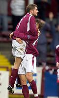 Fotball<br /> Skottland 2004/2005<br /> Foto: SBI/Digitalsport<br /> NORWAY ONLY<br /> <br /> Hearts v Kilmarnock, Scottish Cup fourth round, Tynecastle Park, Edinburgh. 05/02/2005<br /> <br /> Dennis Wyness celebrates with Saulius Mikoliunas after opener