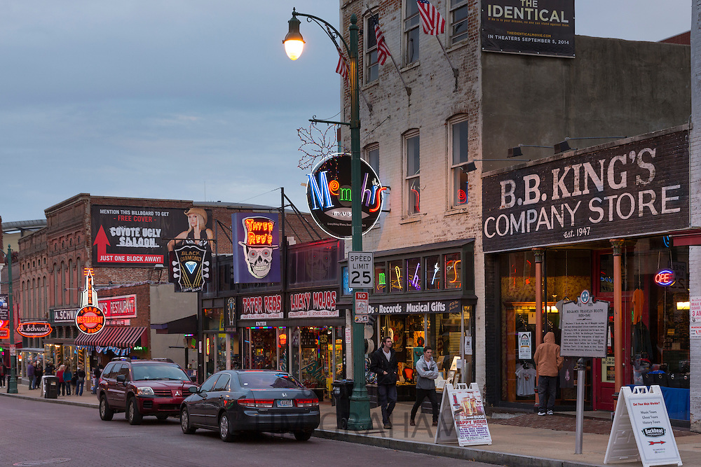 BB King's Company Store and music venues in legendary Beale Street entertainment district of Memphis, Tennessee, USA