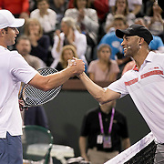 March 7, 2015, Indian Wells, California:<br /> Andy Roddick and James Blake shake hands after playing each other during the McEnroe Challenge for Charity presented by Masimo in Stadium 2 at the Indian Wells Tennis Garden in Indian Wells, California Saturday, March 7, 2015.<br /> (Photo by Billie Weiss/BNP Paribas Open)