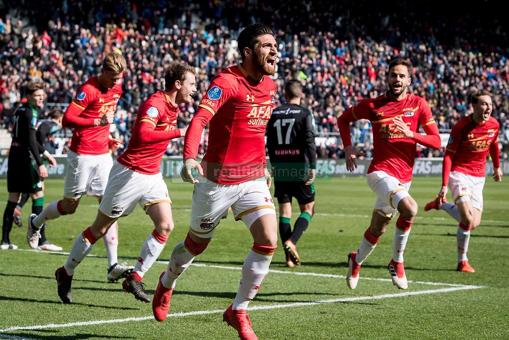 Alireza Jahanbakhsh of AZ 3-2 during the Dutch Eredivisie match between AZ Alkmaar and FC Groningen at AFAS stadium on March 18, 2018 in Alkmaar, The Netherlands
