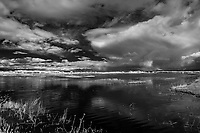 Wetland and clouds; Bosque del Apache NWR., NM