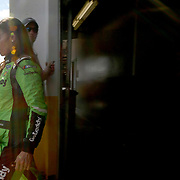 Danica Patrick, driver of the #7 GoDaddy Chevrolet exits here stall after the first practice session for the 60th Annual NASCAR Daytona 500 auto race at Daytona International Speedway on Friday, February 16, 2018 in Daytona Beach, Florida.  (Alex Menendez via AP)