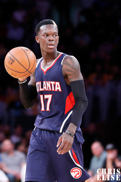 15 March 2015: Atlanta Hawks guard Dennis Schroder (17) brings the ball up court during the Atlanta Hawks 91-86 victory over the Los Angeles Lakers, at the Staples Center, Los Angeles, California, USA.