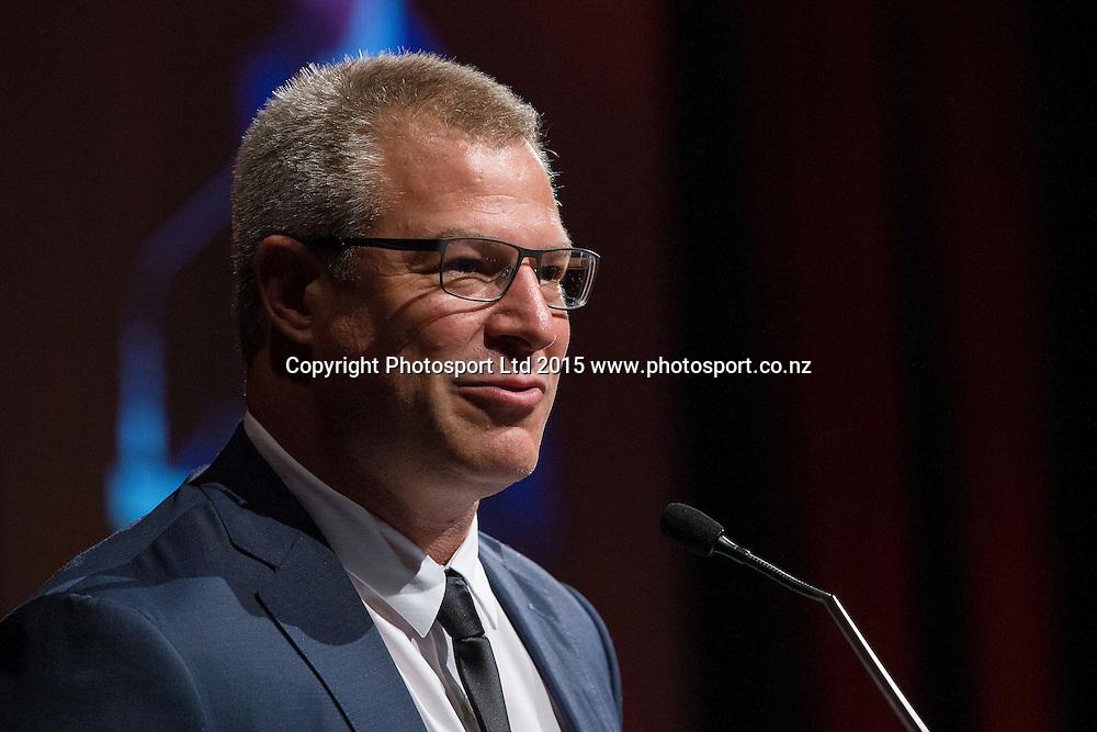 Head Coach Dean Vickerman speaks at the SkyCity Breakers Awards, 2014-15, SkyCity Convention Centre, Auckland, New Zealand, Friday, March 20, 2015. Copyright photo: David Rowland / www.photosport.co.nz