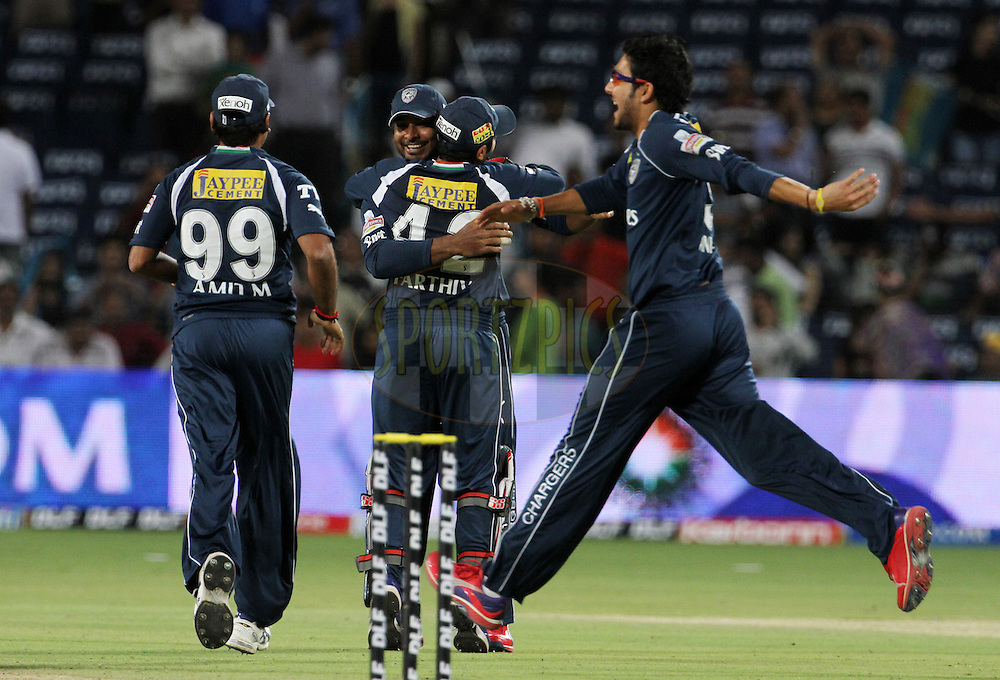 Deccan Chargers players celebrates after winning the match 35 of the Indian Premier League ( IPL) 2012  between The Pune Warriors India and the Deccan Chargers held at the Subrata Roy Sahara Stadium, Pune on the 26th April 2012..Photo by Vipin Pawar/IPL/SPORTZPICS
