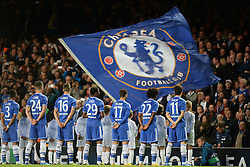 LONDON, ENGLAND - September 18: Chelsea players line up before the UEFA Champions League Group E match between Chelsea from England and Basel from Switzerland played at Stamford Bridge, on September 18, 2013 in London, England. (Photo by Mitchell Gunn/ESPA)